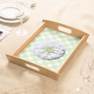 皿-サービング-格子のレモン味の白い《植物》百日草 トレー