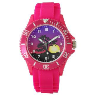 盆栽のシルエットの日没のスポーツの腕時計 腕時計