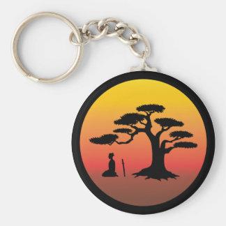 盆栽の木- Keychainの下の武士 キーホルダー