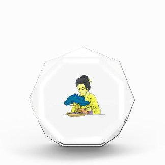 盆栽の木bluish.pngをがちであるアジア女性 表彰盾