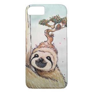 盆栽の樹上の家とのかわいい動物の怠惰 iPhone 8/7ケース