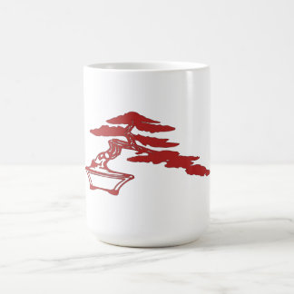 盆栽は、半滝のスタイルはシルエットを描きます(赤い) コーヒーマグカップ