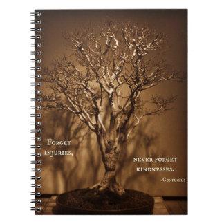 盆栽及び孔子の親切さの引用文 ノートブック