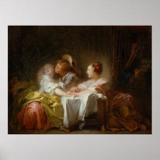 盗まれたキス-ジーンHonoré Fragonard ポスター