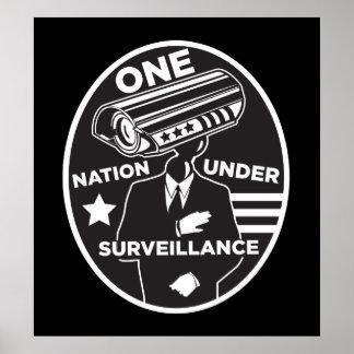 監視のプリントの下の1つの国家 ポスター
