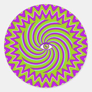 目が付いている催眠性のレトロポスターを着色して下さい ラウンドシール