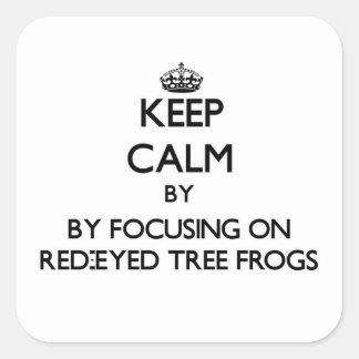 目が赤いアマガエルに焦点を合わせることによって平静を保って下さい スクエアシール