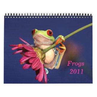 目が赤いアマガエル、カエル2011のカレンダー カレンダー