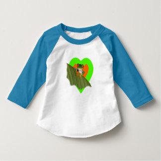 目が赤いGaudíのカエルの幼児の袖のTシャツ Tシャツ