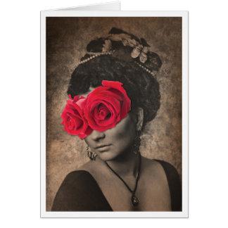 目のためのバラを持つヴィンテージの女性 カード