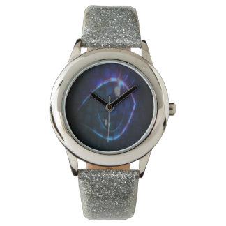 目のグリッターの革紐 腕時計