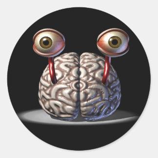 目のステッカーが付いている頭脳 ラウンドシール
