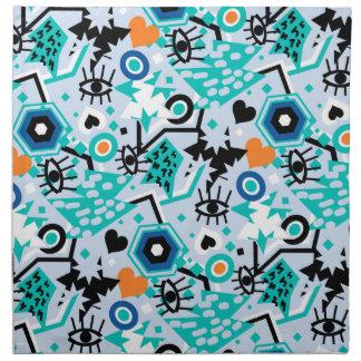 目のハートのポップアートのカッコいいの明るく青いパターン ナプキンクロス