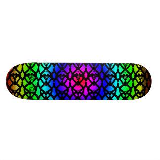 目の人の心を捕える虹パターンデザインのカッコいいのスケートボード 21.6CM スケートボードデッキ