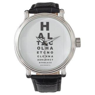 目の試験標板の手紙 腕時計