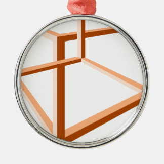 目の錯覚の不可能な錯覚3dの幾何学 シルバーカラー丸型オーナメント
