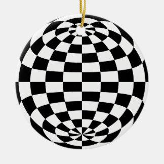 目の錯覚の円形のチェッカーの白黒 セラミックオーナメント