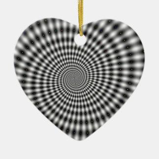 目の錯覚の白黒渦巻 セラミックオーナメント
