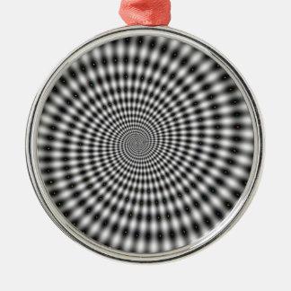目の錯覚の白黒渦巻 メタルオーナメント