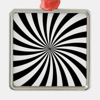 目の錯覚の移動白黒渦巻 メタルオーナメント