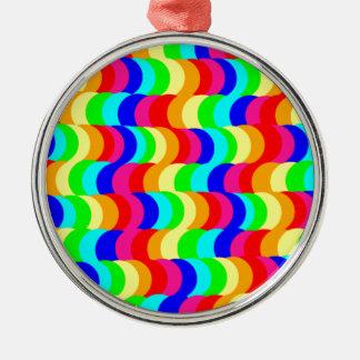 目の錯覚の虹 シルバーカラー丸型オーナメント
