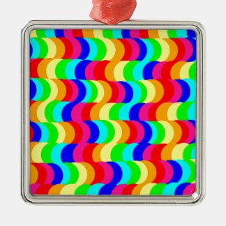 目の錯覚の虹 シルバーカラー正方形オーナメント