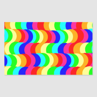 目の錯覚の虹 長方形シール