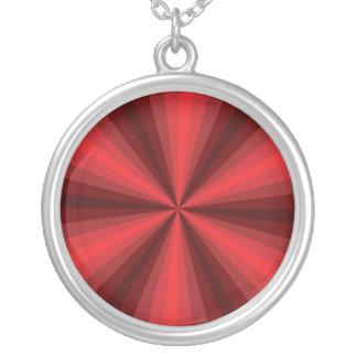 目の錯覚の赤のネックレス シルバープレートネックレス