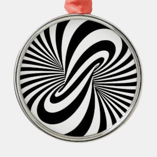 目の錯覚3Dの螺線形 シルバーカラー丸型オーナメント