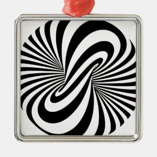 目の錯覚3Dの螺線形 シルバーカラー正方形オーナメント