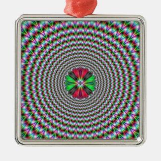 目の錯覚 シルバーカラー正方形オーナメント