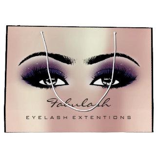 目の鞭のプラムピンクの化粧のグリッターの美しいの化粧品 ラージペーパーバッグ