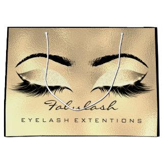 目の鞭の金ゴールドの化粧のグリッターの美しいの化粧品 ラージペーパーバッグ