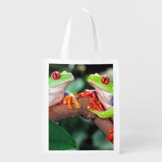 目のTreefrogの赤い組、Agalychinisのcallidryas、 エコバッグ