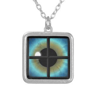 目は精神の正方形のネックレスへWindowsです シルバープレートネックレス