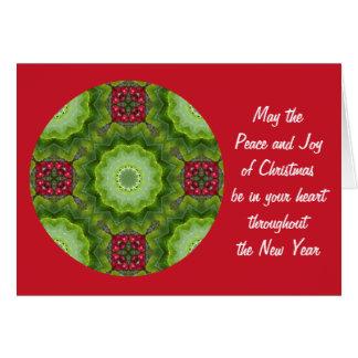 目まぐるしい曼荼羅のヒイラギの果実のクリスマスカード カード