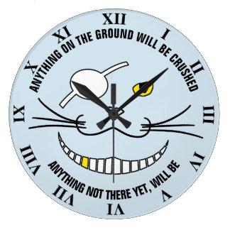 目パッチを持つおもしろいな海賊黒い微笑猫 ラージ壁時計