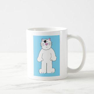 目パッチを持つ猫は、井戸を、目の外科すぐに得ます コーヒーマグカップ