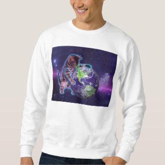 目レーザーが付いている世界を破壊している猫 スウェットシャツ