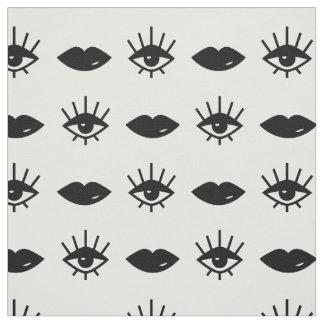 目及び唇の白黒パターン ファブリック