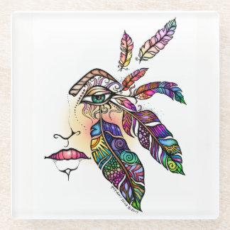 目愛はファンタジーの芸術に羽をつけます ガラスコースター