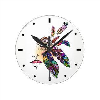目愛はファンタジーの芸術に羽をつけます ラウンド壁時計