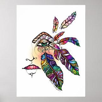 目愛はファンタジーの芸術18x24に羽をつけます ポスター