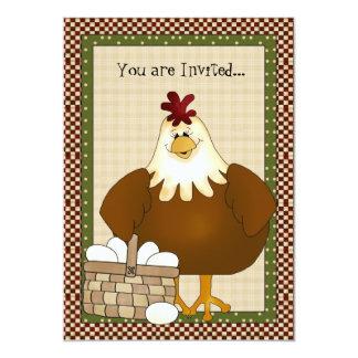 目的の国の鶏の招待状 カード