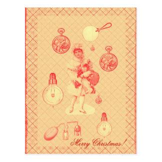 目的を持つsteampunkのヴィンテージのクリスマスの女の子 ポストカード