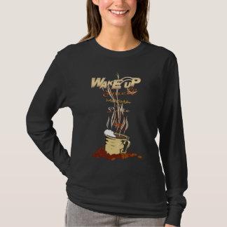 目覚しはコーヒー-ワイシャツ--をかぎ、 Tシャツ