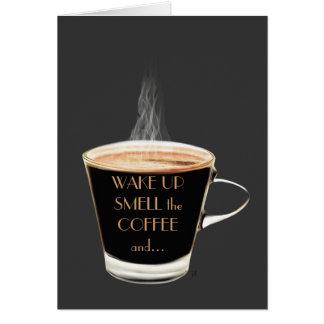 目覚めて下さい臭いをコーヒー挨拶状(ブランク) カード
