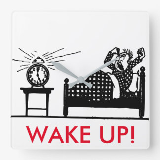 目覚めて下さい! おもしろいな最小主義の時計 スクエア壁時計