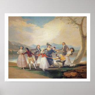 盲人のもみ革1788-9年(タペストリーの漫画) (sのために ポスター