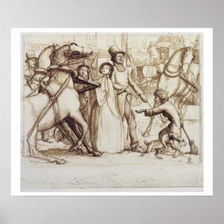 盲人1853年(ペン、インク、洗浄およびグラファイトo ポスター